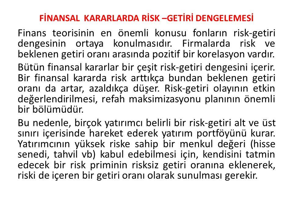 FİNANSAL KARARLARDA RİSK –GETİRİ DENGELEMESİ Finans teorisinin en önemli konusu fonların risk-getiri dengesinin ortaya konulmasıdır. Firmalarda risk v