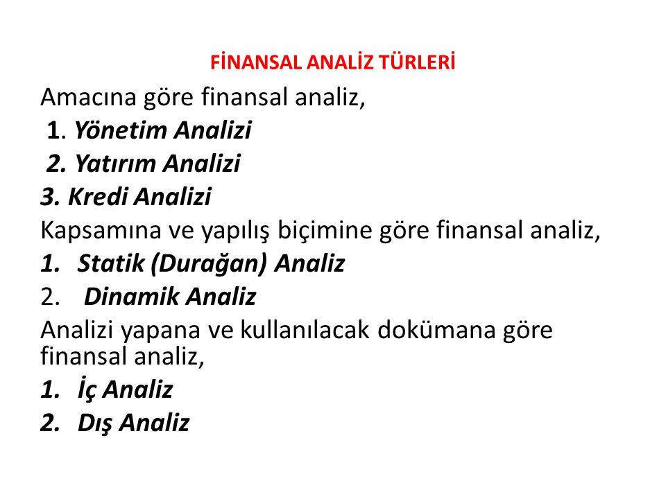 FİNANSAL ANALİZ TÜRLERİ Amacına göre finansal analiz, 1. Yönetim Analizi 2. Yatırım Analizi 3. Kredi Analizi Kapsamına ve yapılış biçimine göre finans