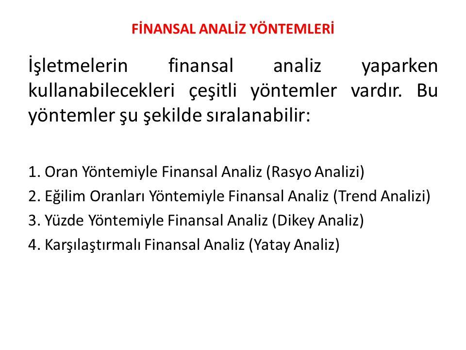 FİNANSAL ANALİZ YÖNTEMLERİ İşletmelerin finansal analiz yaparken kullanabilecekleri çeşitli yöntemler vardır. Bu yöntemler şu şekilde sıralanabilir: 1