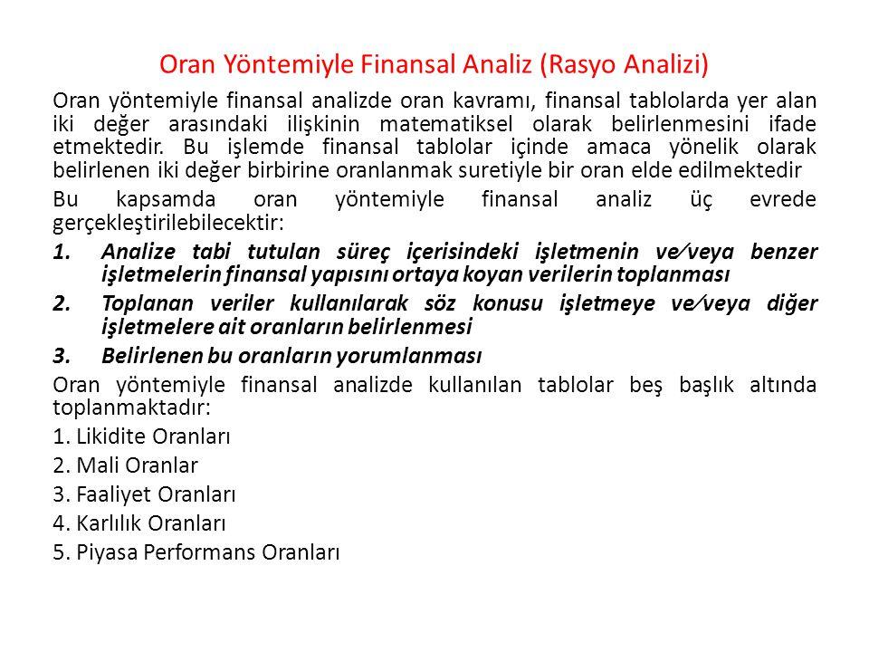 Oran Yöntemiyle Finansal Analiz (Rasyo Analizi) Oran yöntemiyle finansal analizde oran kavramı, finansal tablolarda yer alan iki değer arasındaki iliş