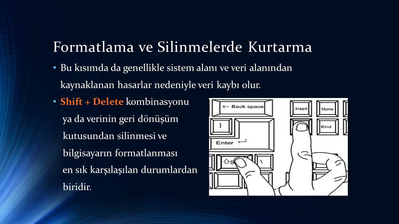 Formatlama ve Silinmelerde Kurtarma • Bu kısımda da genellikle sistem alanı ve veri alanından kaynaklanan hasarlar nedeniyle veri kaybı olur.