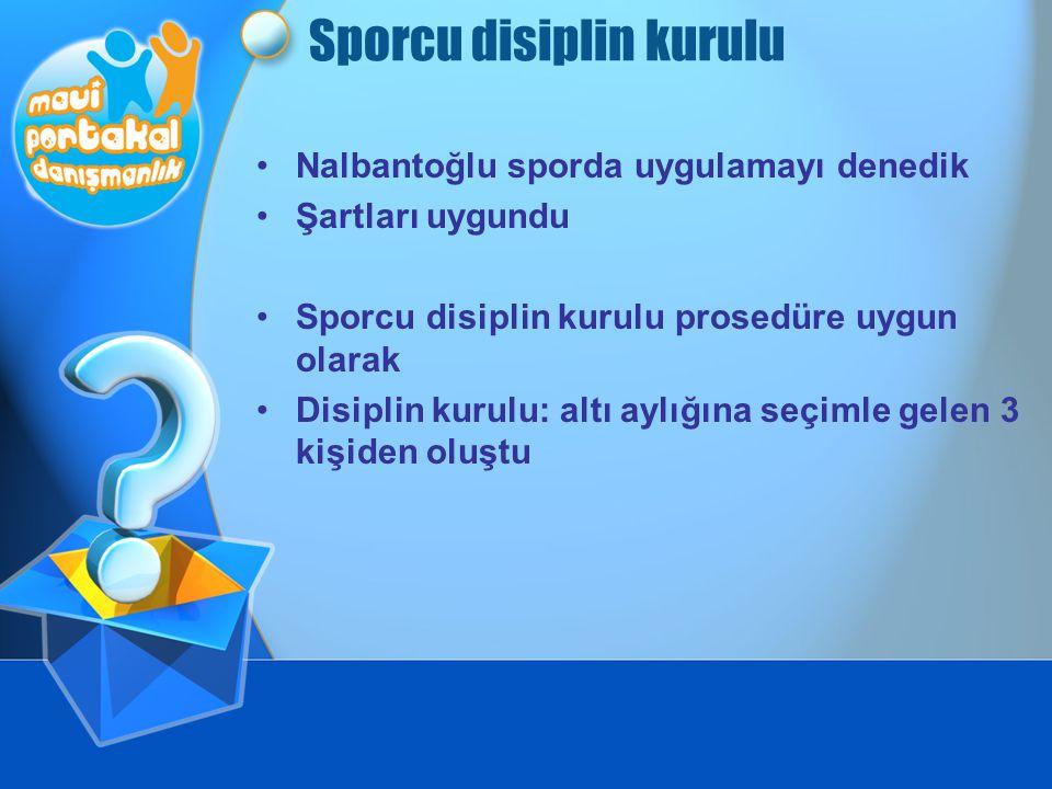 Sporcu disiplin kurulu •Nalbantoğlu sporda uygulamayı denedik •Şartları uygundu •Sporcu disiplin kurulu prosedüre uygun olarak •Disiplin kurulu: altı