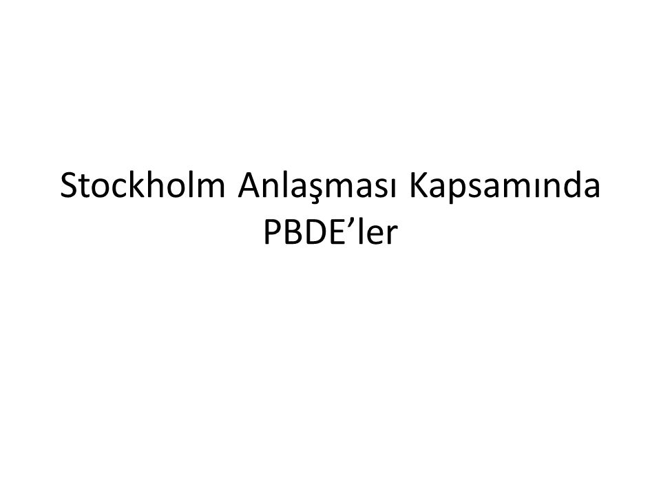 ChemicalPesticides Industrial chemicals Unintentional production Annex Chlordecone Lindane Alpha hexachlorocyclohexane Beta hexachlorocyclohexane Endosulfan ++++++++++By-product of lindane AAAAAAAAAA Commercial pentabromodiphenyl ether Commercial octabromodiphenyl ether Hexabromobiphenyl Perfluorooctane sulfonic acid (PFOS), its salts and PFOSF + ++++++++ AAABAAAB Pentachlorobenzene + +A/C Stockholm Anlaşması-Yeni KOK'lar