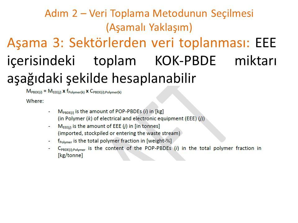 Adım 2 – Veri Toplama Metodunun Seçilmesi (Aşamalı Yaklaşım) Aşama 3: Sektörlerden veri toplanması: EEE içerisindeki toplam KOK-PBDE miktarı aşağıdaki şekilde hesaplanabilir