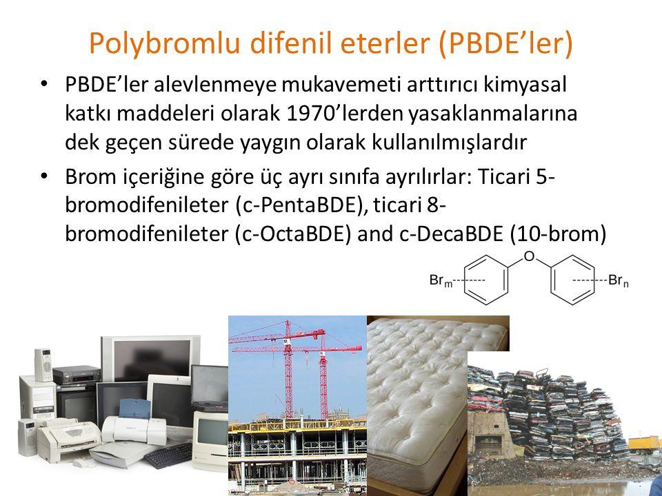 Polybromlu difenil eterler (PBDE'ler) • PBDE'ler alevlenmeye mukavemeti arttırıcı kimyasal katkı maddeleri olarak 1970'lerden yasaklanmalarına dek geçen sürede yaygın olarak kullanılmışlardır • Brom içeriğine göre üç ayrı sınıfa ayrılırlar: Ticari 5- bromodifenileter (c-PentaBDE), ticari 8- bromodifenileter (c-OctaBDE) and c-DecaBDE (10-brom)