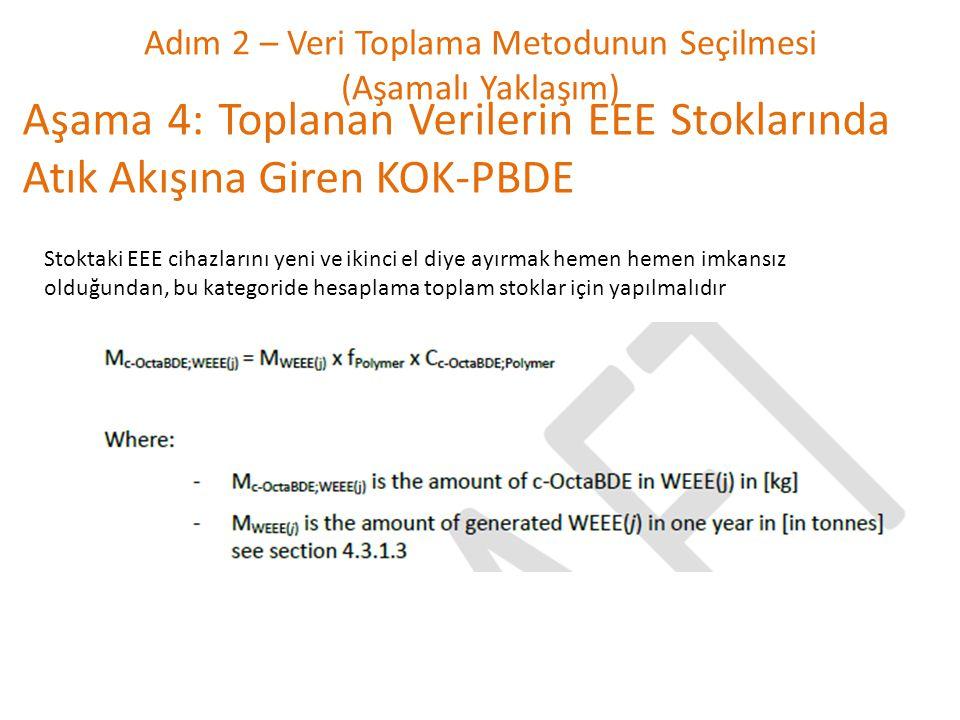 Adım 2 – Veri Toplama Metodunun Seçilmesi (Aşamalı Yaklaşım) Aşama 4: Toplanan Verilerin EEE Stoklarında Atık Akışına Giren KOK-PBDE Stoktaki EEE ciha