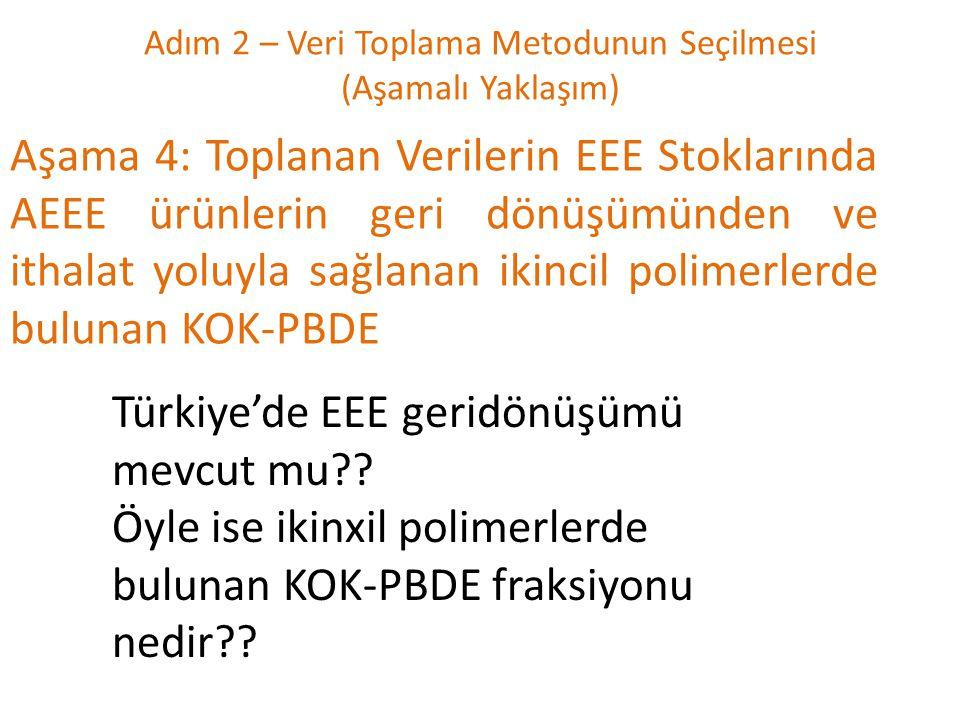 Adım 2 – Veri Toplama Metodunun Seçilmesi (Aşamalı Yaklaşım) Aşama 4: Toplanan Verilerin EEE Stoklarında AEEE ürünlerin geri dönüşümünden ve ithalat yoluyla sağlanan ikincil polimerlerde bulunan KOK-PBDE Türkiye'de EEE geridönüşümü mevcut mu?.