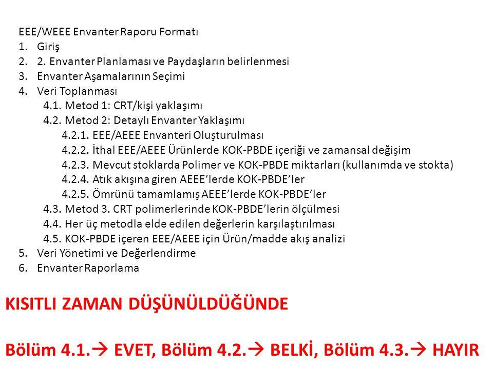 EEE/WEEE Envanter Raporu Formatı 1.Giriş 2.2.