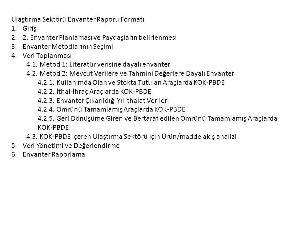 Ulaştırma Sektörü Envanter Raporu Formatı 1.Giriş 2.2.
