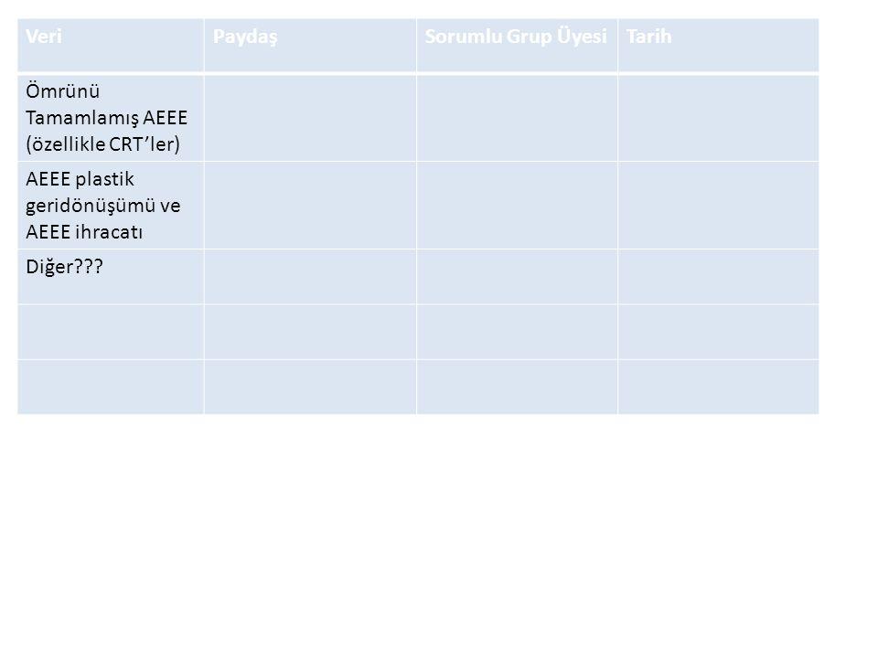 VeriPaydaşSorumlu Grup ÜyesiTarih Ömrünü Tamamlamış AEEE (özellikle CRT'ler) AEEE plastik geridönüşümü ve AEEE ihracatı Diğer???