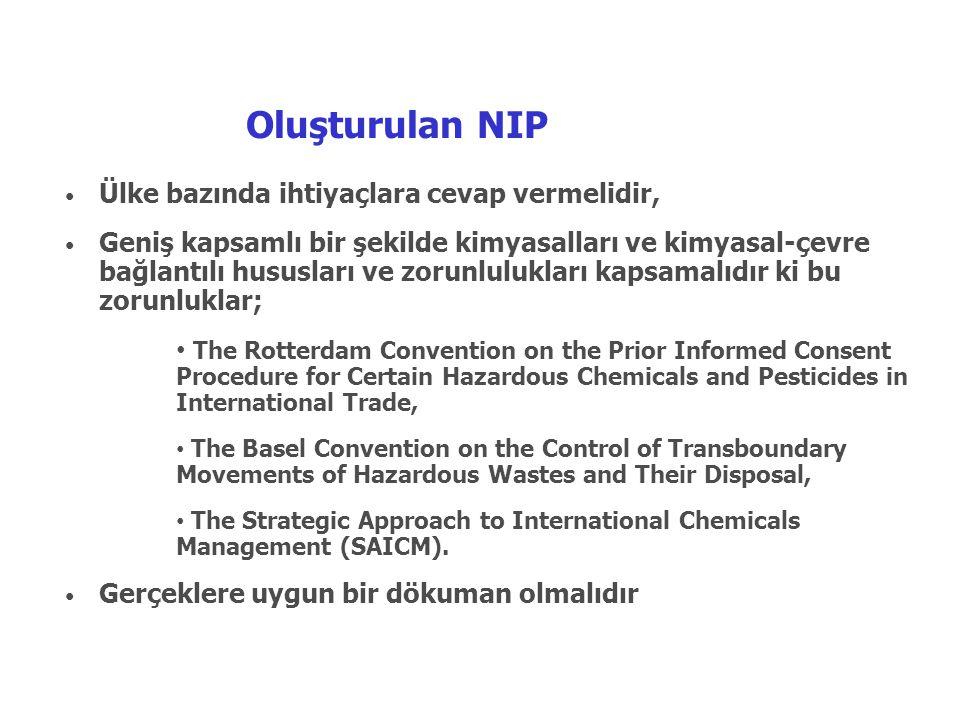 Oluşturulan NIP • Ülke bazında ihtiyaçlara cevap vermelidir, • Geniş kapsamlı bir şekilde kimyasalları ve kimyasal-çevre bağlantılı hususları ve zorun