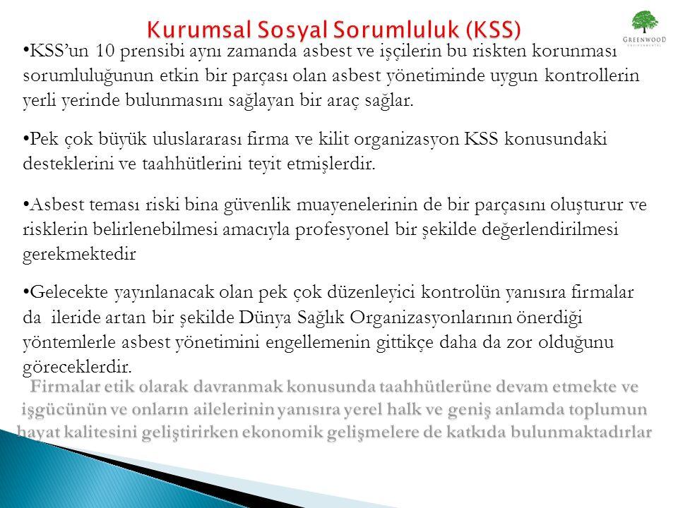 • KSS'un 10 prensibi aynı zamanda asbest ve işçilerin bu riskten korunması sorumluluğunun etkin bir parçası olan asbest yönetiminde uygun kontrollerin