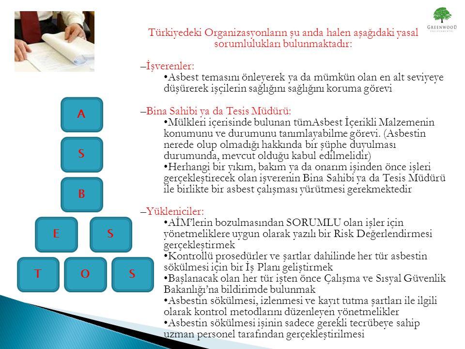 ST E S B A O S Türkiyedeki Organizasyonların şu anda halen aşağıdaki yasal sorumlulukları bulunmaktadır: –İşverenler: •Asbest temasını önleyerek ya da mümkün olan en alt seviyeye düşürerek işçilerin sağlığını sağlığını koruma görevi –Bina Sahibi ya da Tesis Müdürü: •Mülkleri içerisinde bulunan tümAsbest İçerikli Malzemenin konumunu ve durumunu tanımlayabilme görevi.