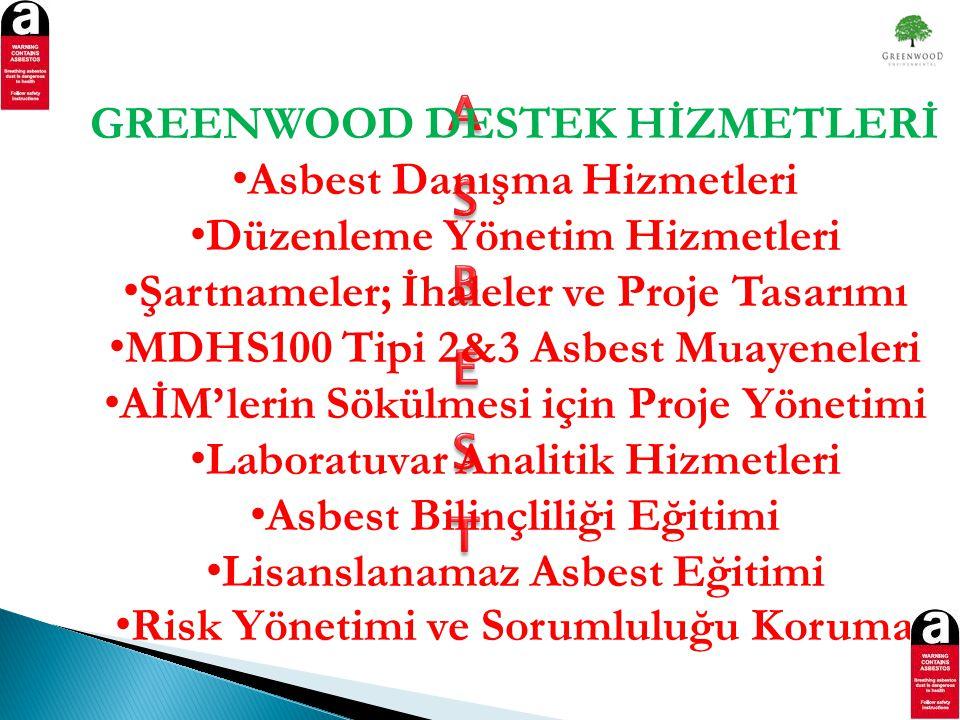 GREENWOOD DESTEK HİZMETLERİ • Asbest Danışma Hizmetleri • Düzenleme Yönetim Hizmetleri • Şartnameler; İhaleler ve Proje Tasarımı • MDHS100 Tipi 2&3 Asbest Muayeneleri • AİM'lerin Sökülmesi için Proje Yönetimi • Laboratuvar Analitik Hizmetleri • Asbest Bilinçliliği Eğitimi • Lisanslanamaz Asbest Eğitimi • Risk Yönetimi ve Sorumluluğu Koruma