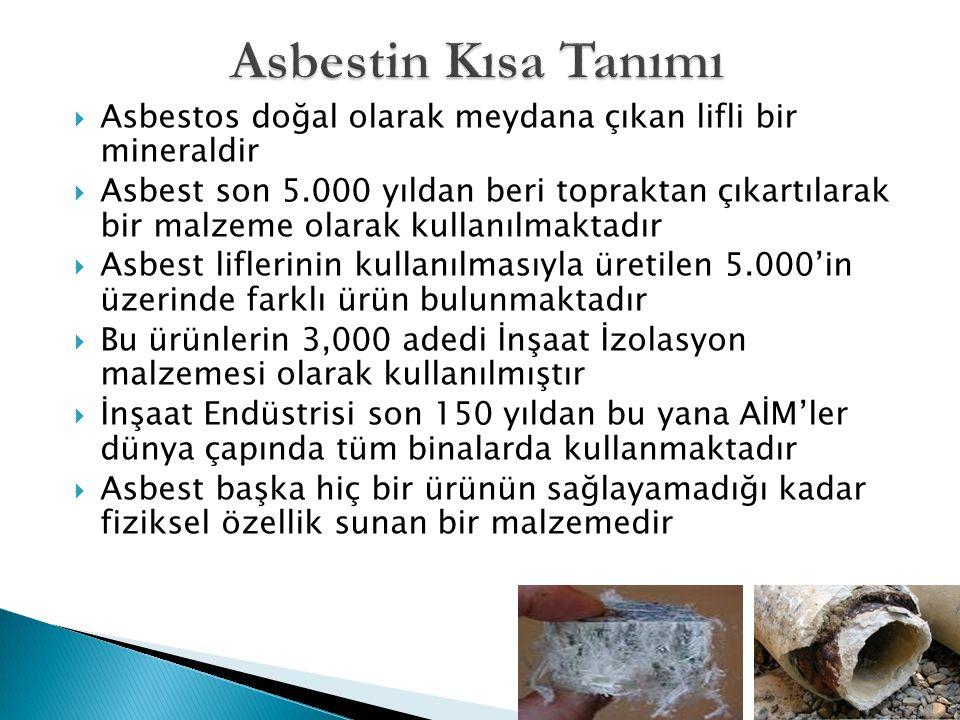  Asbestos doğal olarak meydana çıkan lifli bir mineraldir  Asbest son 5.000 yıldan beri topraktan çıkartılarak bir malzeme olarak kullanılmaktadır 