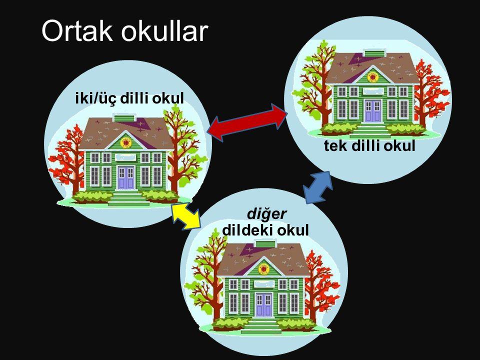 Ortak okullar tek dilli okul diğer dildeki okul iki/üç dilli okul
