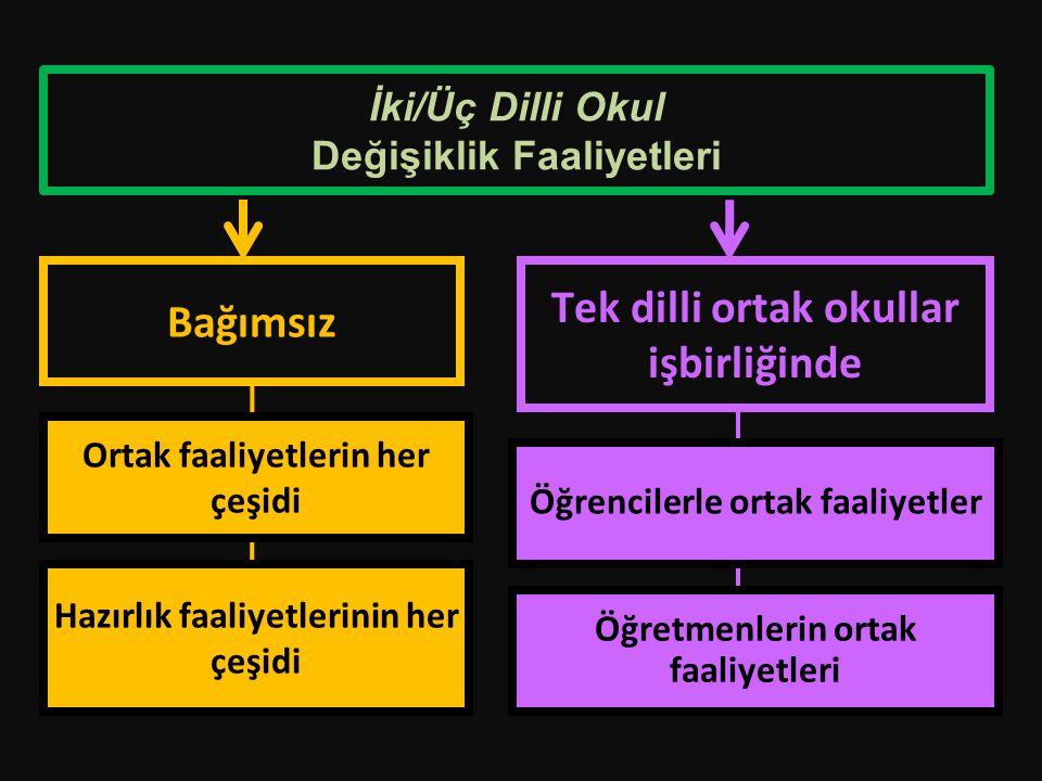 İki/Üç Dilli Okul Değişiklik Faaliyetleri Tek dilli ortak okullar işbirliğinde Bağımsız Öğrencilerle ortak faaliyetler Öğretmenlerin ortak faaliyetler
