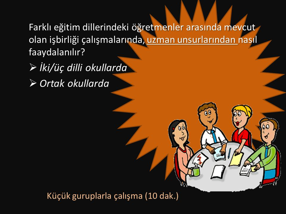 Farklı eğitim dillerindeki öğretmenler arasında mevcut olan işbirliği çalışmalarında, uzman unsurlarından nasıl faaydalanılır?  İki/üç dilli okullard