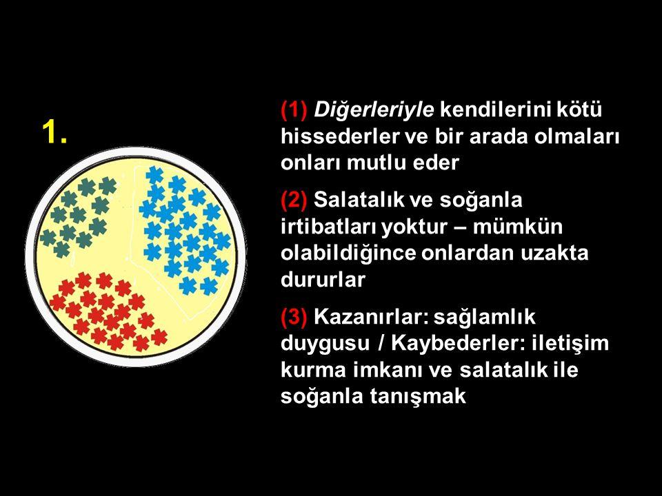 (1) Diğerleriyle kendilerini kötü hissederler ve bir arada olmaları onları mutlu eder (2) Salatalık ve soğanla irtibatları yoktur – mümkün olabildiğin