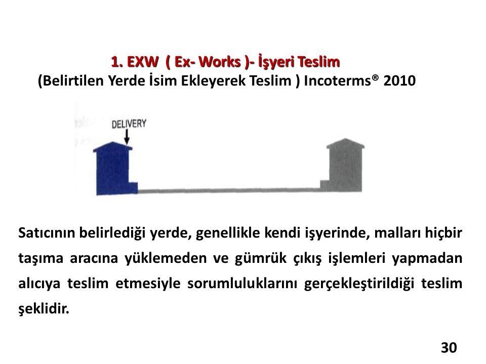1. EXW ( Ex- Works )- İşyeri Teslim 1. EXW ( Ex- Works )- İşyeri Teslim (Belirtilen Yerde İsim Ekleyerek Teslim ) Incoterms® 2010 Satıcının belirlediğ