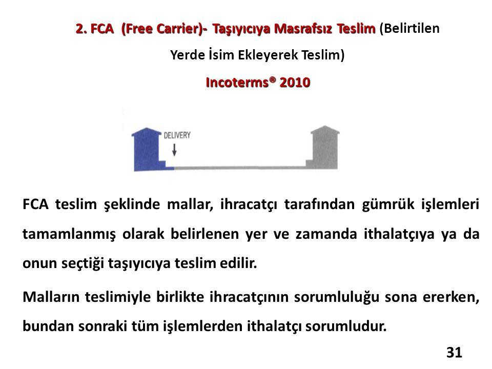 2. FCA (Free Carrier)- Taşıyıcıya Masrafsız Teslim Incoterms® 2010 2. FCA (Free Carrier)- Taşıyıcıya Masrafsız Teslim (Belirtilen Yerde İsim Ekleyerek
