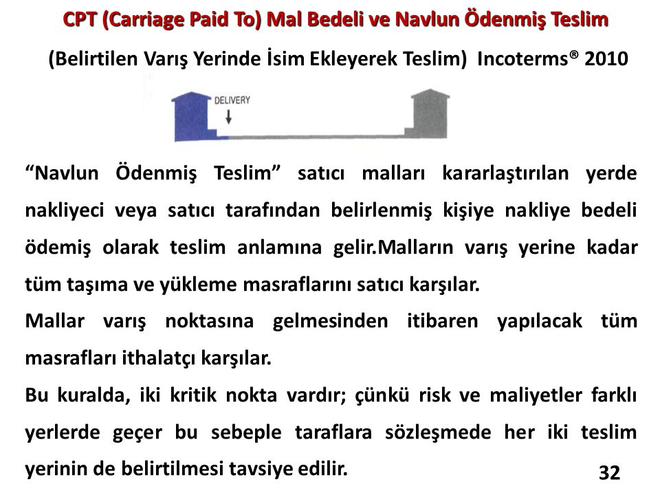 CPT (Carriage Paid To) Mal Bedeli ve Navlun Ödenmiş Teslim CPT (Carriage Paid To) Mal Bedeli ve Navlun Ödenmiş Teslim (Belirtilen Varış Yerinde İsim E