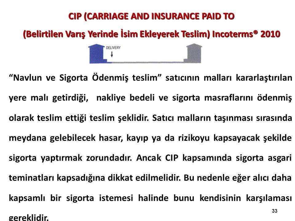 """CIP (CARRIAGE AND INSURANCE PAID TO (Belirtilen Varış Yerinde İsim Ekleyerek Teslim) Incoterms® 2010 """"Navlun ve Sigorta Ödenmiş teslim"""" satıcının mall"""