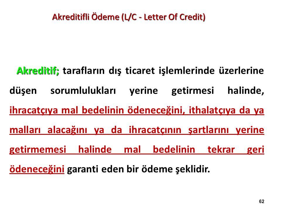 Akreditifli Ödeme (L/C - Letter Of Credit) Akreditif; tarafların dış ticaret işlemlerinde üzerlerine düşen sorumlulukları yerine getirmesi halinde, ih