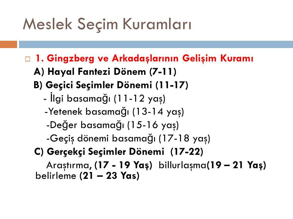 Meslek Seçim Kuramları  1. Gingzberg ve Arkadaşlarının Gelişim Kuramı A) Hayal Fantezi Dönem (7-11) B) Geçici Seçimler Dönemi (11-17) - İ lgi basama