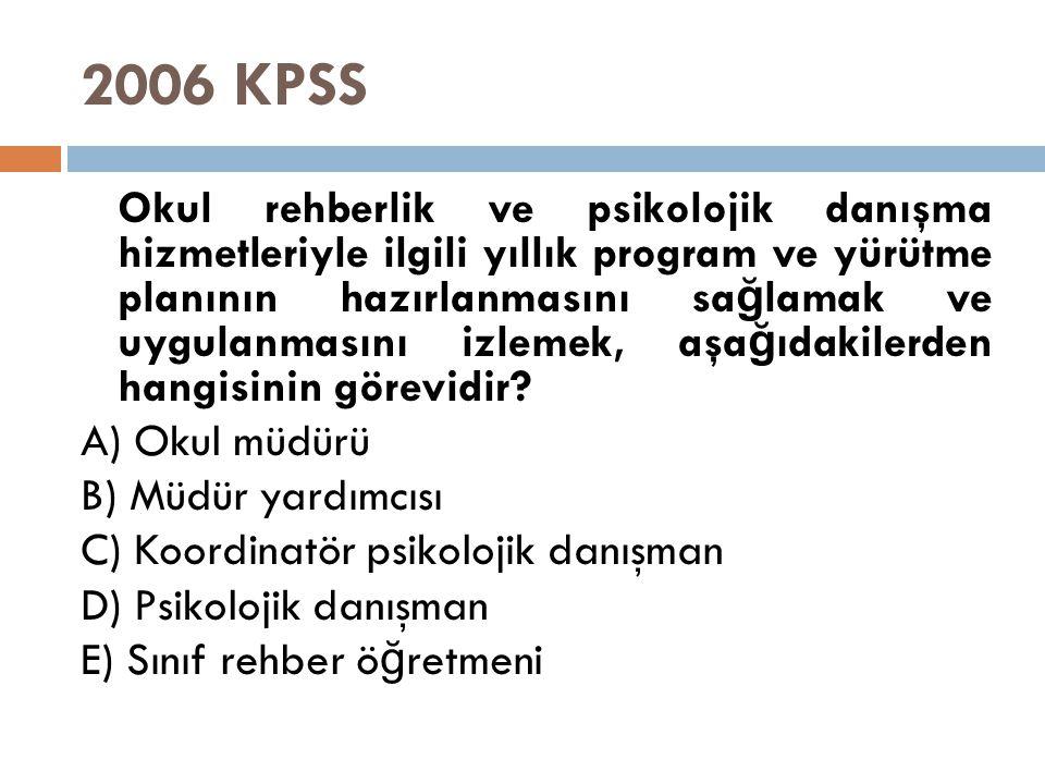 2006 KPSS Okul rehberlik ve psikolojik danışma hizmetleriyle ilgili yıllık program ve yürütme planının hazırlanmasını sa ğ lamak ve uygulanmasını izle