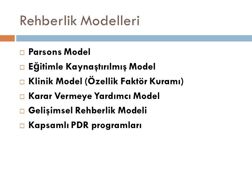 Rehberlik Modelleri  Parsons Model  E ğ itimle Kaynaştırılmış Model  Klinik Model (Özellik Faktör Kuramı)  Karar Vermeye Yardımcı Model  Gelişims