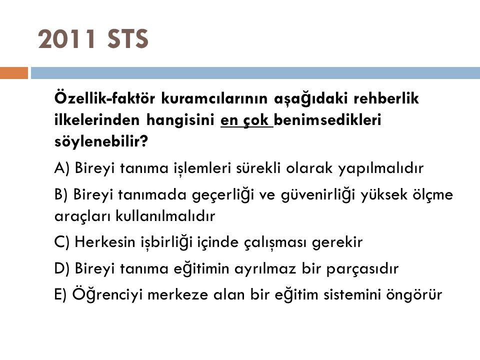 2011 STS Özellik-faktör kuramcılarının aşa ğ ıdaki rehberlik ilkelerinden hangisini en çok benimsedikleri söylenebilir? A) Bireyi tanıma işlemleri sür