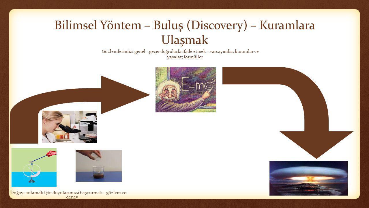 Bilimsel Yöntem – Buluş (Discovery) – Kuramlara Ulaşmak Doğayı anlamak için duyularımıza başvurmak – gözlem ve deney Gözlemlerimizi genel – geçer doğr