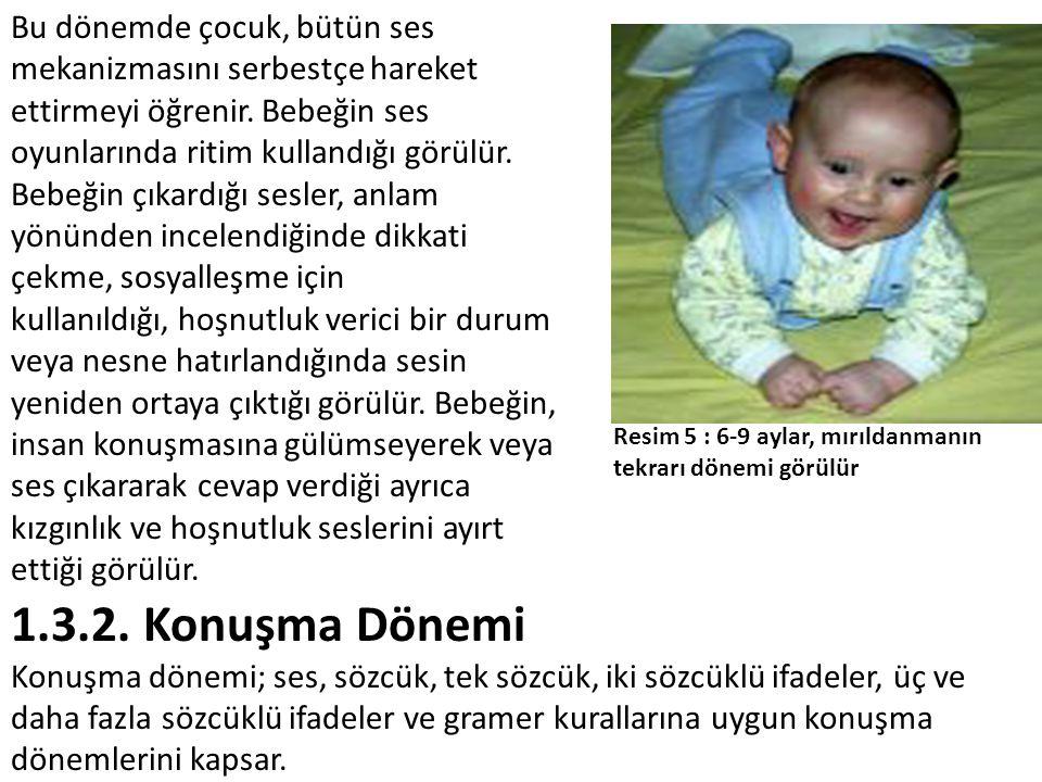 Bu dönemde çocuk, bütün ses mekanizmasını serbestçe hareket ettirmeyi öğrenir. Bebeğin ses oyunlarında ritim kullandığı görülür. Bebeğin çıkardığı ses