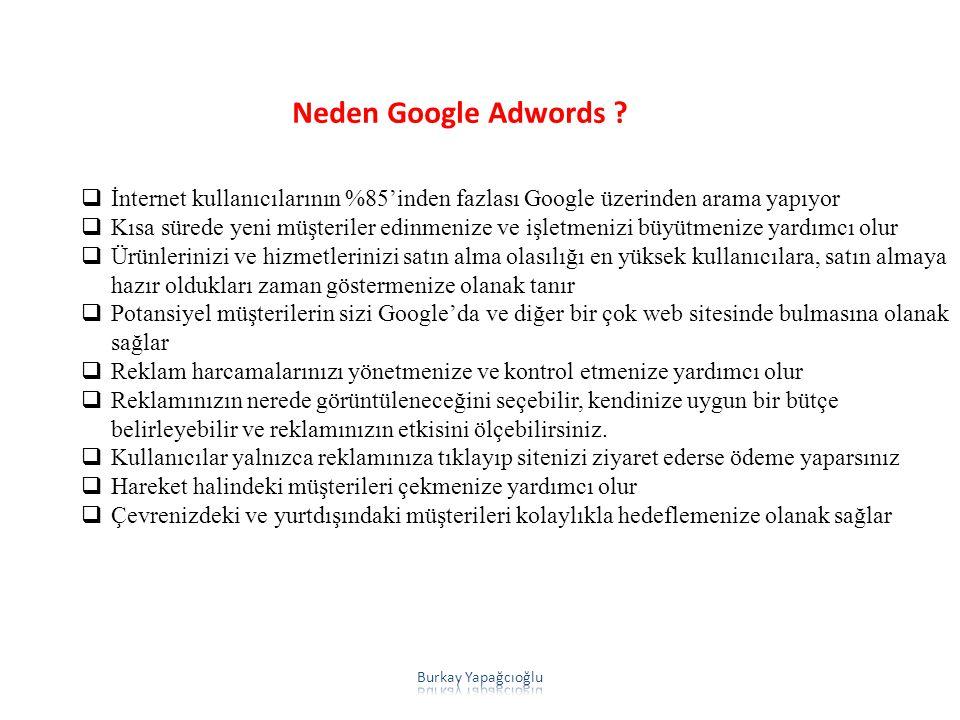 Neden Google Adwords ?  İnternet kullanıcılarının %85'inden fazlası Google üzerinden arama yapıyor  Kısa sürede yeni müşteriler edinmenize ve işletm