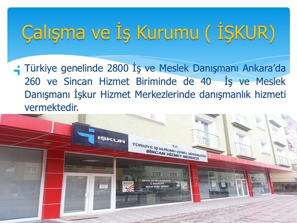 Türkiye genelinde 2800 İş ve Meslek Danışmanı Ankara'da 260 ve Sincan Hizmet Biriminde de 40 İş ve Meslek Danışmanı İşkur Hizmet Merkezlerinde danışmanlık hizmeti vermektedir.