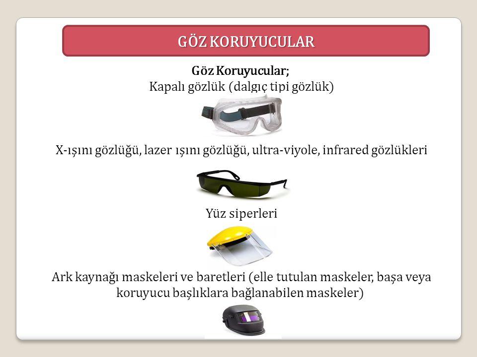 GÖZ KORUYUCULAR Göz Koruyucular; Kapalı gözlük (dalgıç tipi gözlük) X-ışını gözlüğü, lazer ışını gözlüğü, ultra-viyole, infrared gözlükleri Yüz siperl