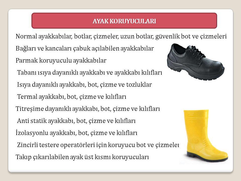 Normal ayakkabılar, botlar, çizmeler, uzun botlar, güvenlik bot ve çizmeleri Bağları ve kancaları çabuk açılabilen ayakkabılar Parmak koruyuculu ayakk