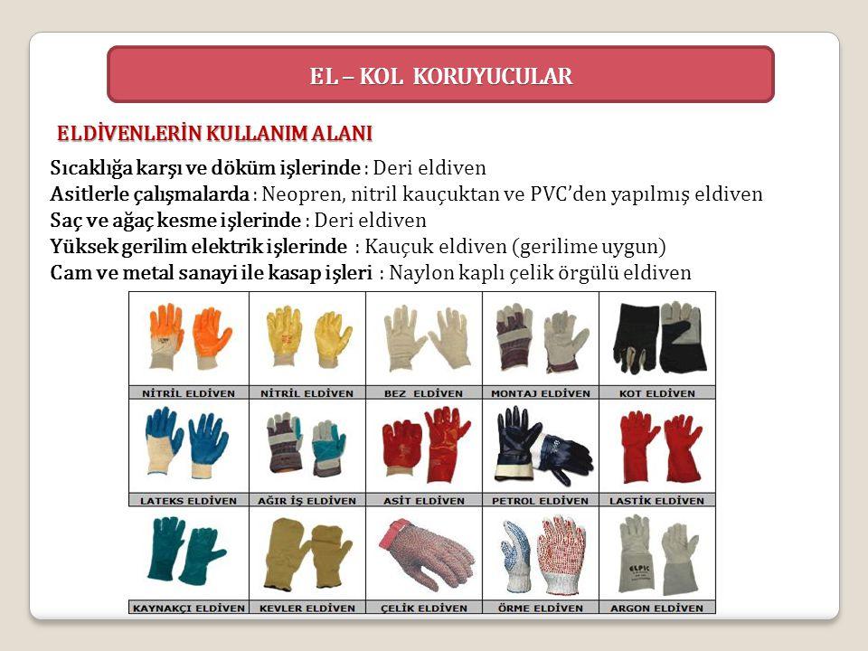 Sıcaklığa karşı ve döküm işlerinde : Deri eldiven Asitlerle çalışmalarda : Neopren, nitril kauçuktan ve PVC'den yapılmış eldiven Saç ve ağaç kesme işl