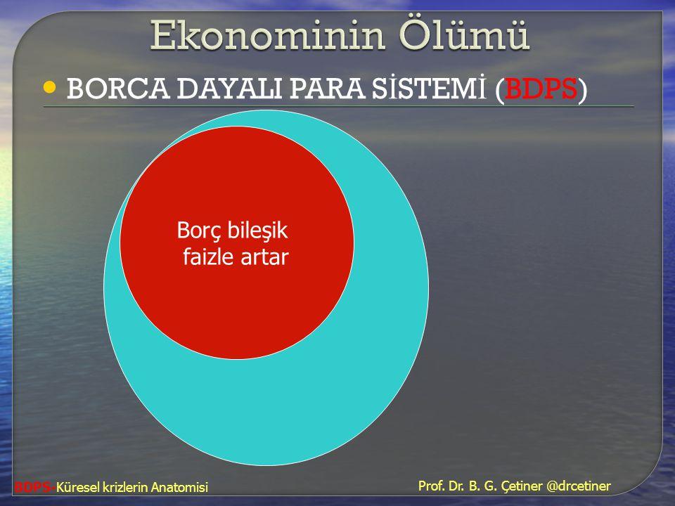 • BORCA DAYALI PARA S İ STEM İ (BDPS) Borç bileşik faizle artar BDPS-Küresel krizlerin Anatomisi Prof. Dr. B. G. Çetiner @drcetiner