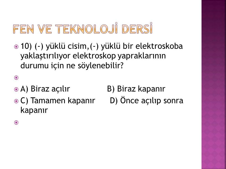  10) (-) yüklü cisim,(-) yüklü bir elektroskoba yaklaştırılıyor elektroskop yapraklarının durumu için ne söylenebilir?   A) Biraz açılır B) Biraz k