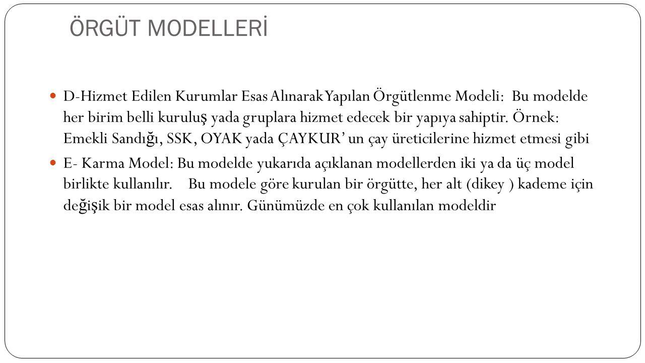 ÖRGÜT MODELLERİ  D-Hizmet Edilen Kurumlar Esas Alınarak Yapılan Örgütlenme Modeli: Bu modelde her birim belli kurulu ş yada gruplara hizmet edecek bi
