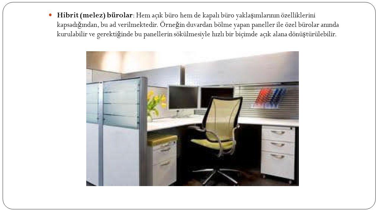  Hibrit (melez) bürolar: Hem açık büro hem de kapalı büro yakla ş ımlarının özelliklerini kapsadı ğ ından, bu ad verilmektedir. Örne ğ in duvardan bö