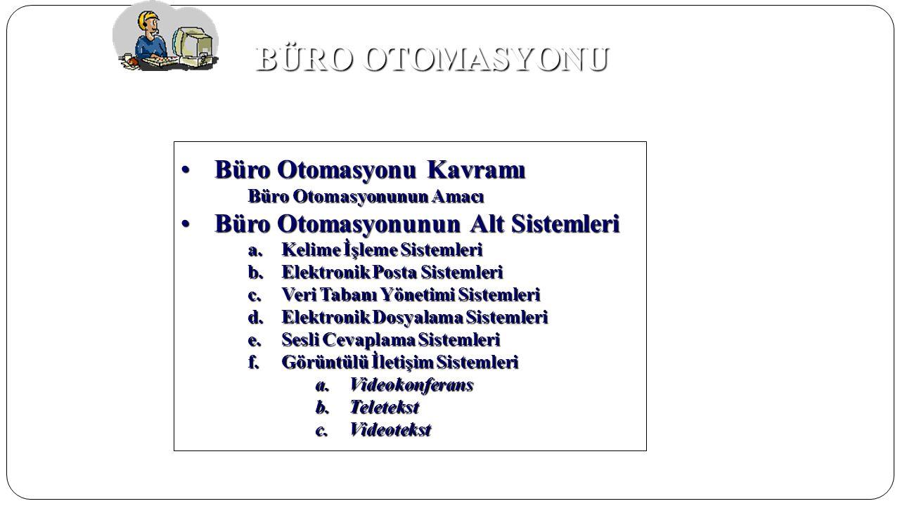 BÜRO OTOMASYONU •Büro Otomasyonu Kavramı Büro Otomasyonunun Amacı •Büro Otomasyonunun Alt Sistemleri a.Kelime İşleme Sistemleri b.Elektronik Posta Sis