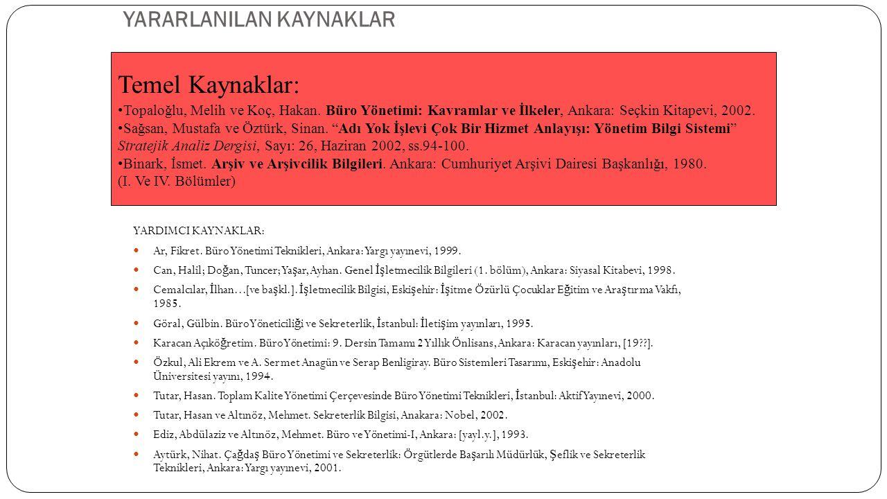 YARARLANILAN KAYNAKLAR YARDIMCI KAYNAKLAR:  Ar, Fikret. Büro Yönetimi Teknikleri, Ankara: Yargı yayınevi, 1999.  Can, Halil; Do ğ an, Tuncer; Ya ş a