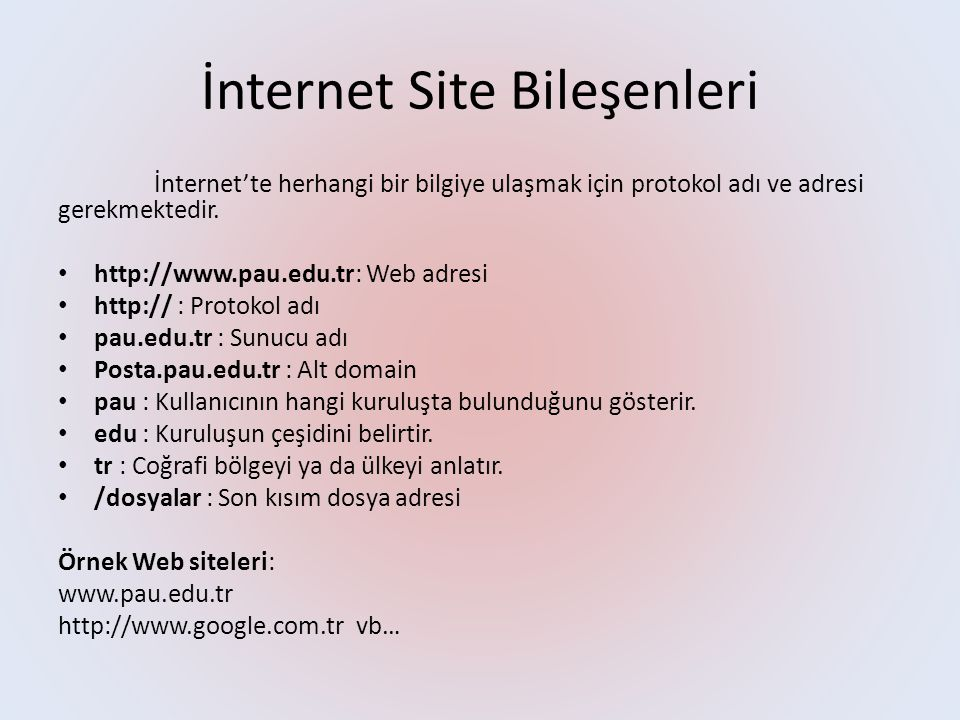 İnternet Site Bileşenleri İnternet'te herhangi bir bilgiye ulaşmak için protokol adı ve adresi gerekmektedir.