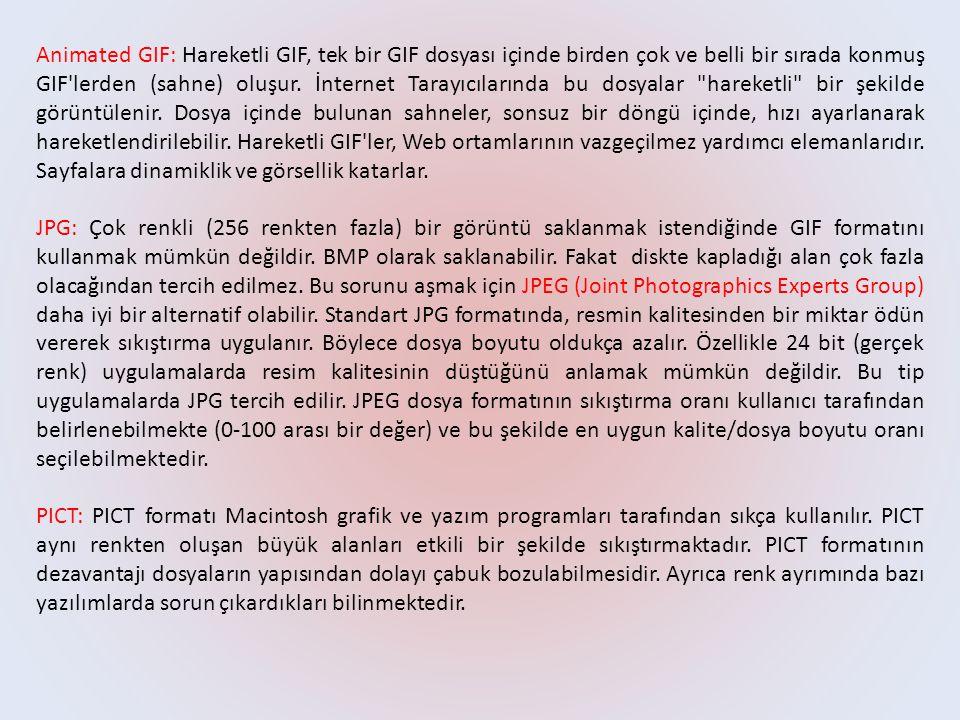 Animated GIF: Hareketli GIF, tek bir GIF dosyası içinde birden çok ve belli bir sırada konmuş GIF lerden (sahne) oluşur.