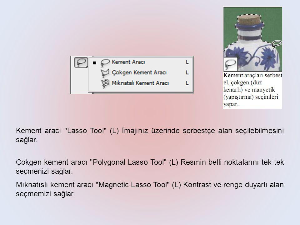 Kement aracı Lasso Tool (L) İmajınız üzerinde serbestçe alan seçilebilmesini sağlar.