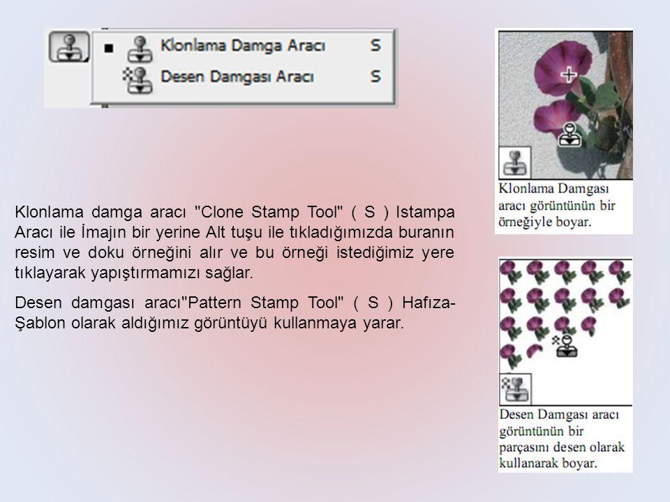 Klonlama damga aracı Clone Stamp Tool ( S ) Istampa Aracı ile İmajın bir yerine Alt tuşu ile tıkladığımızda buranın resim ve doku örneğini alır ve bu örneği istediğimiz yere tıklayarak yapıştırmamızı sağlar.