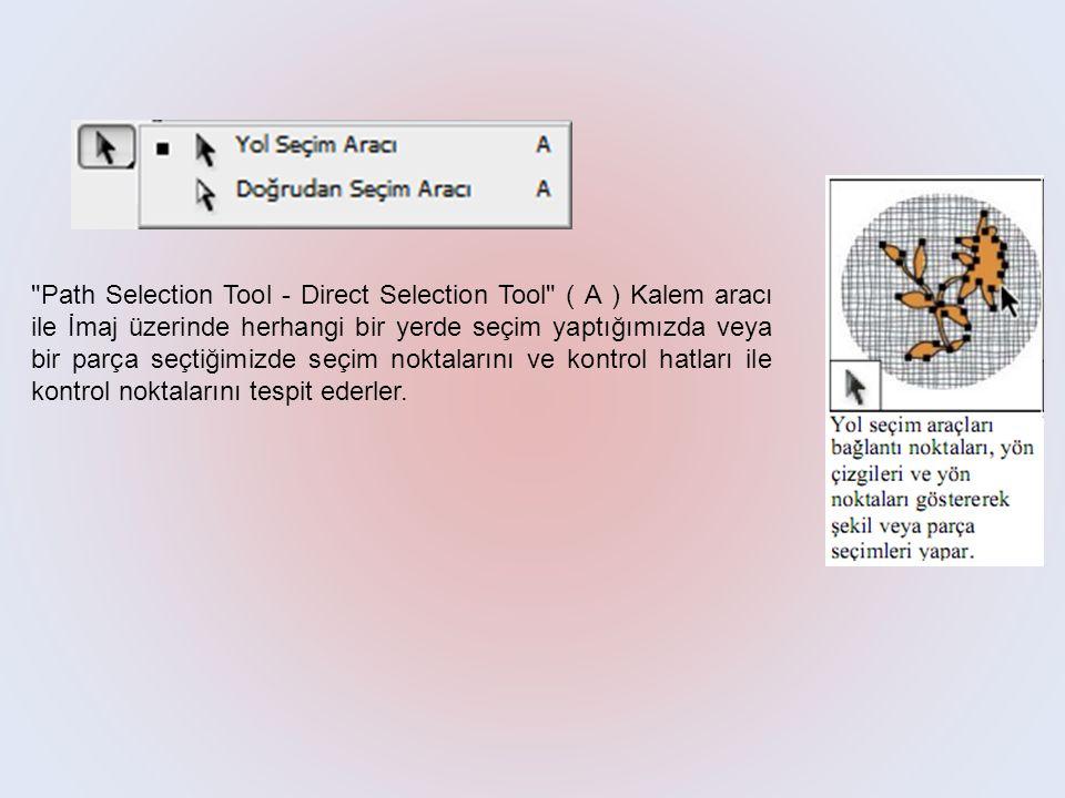 Path Selection Tool - Direct Selection Tool ( A ) Kalem aracı ile İmaj üzerinde herhangi bir yerde seçim yaptığımızda veya bir parça seçtiğimizde seçim noktalarını ve kontrol hatları ile kontrol noktalarını tespit ederler.